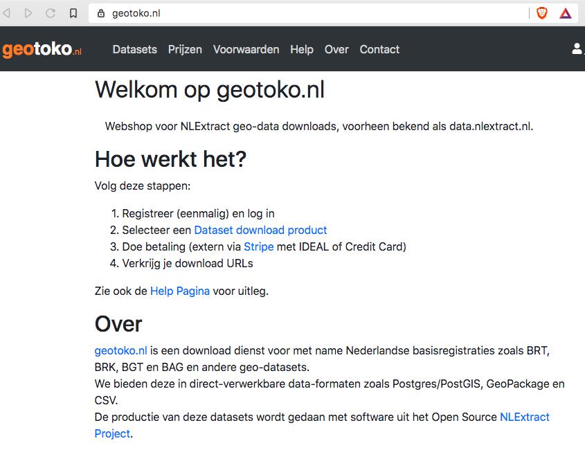 NLExtract Downloads vanaf nu via geotoko.nl